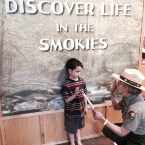 Will being sworn in after completing the Junior Ranger program.  #GreatSmokyMountains #NationalParks #Smokies #ParkRanger #JuniorRanger #roadtrip #lifewithboys #familytime #summertime