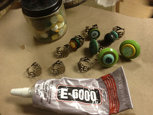 Making rings out of vintage buttons