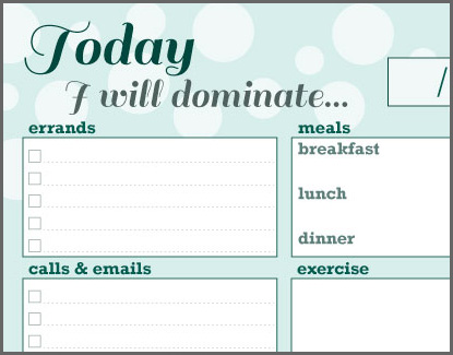 Free printable: Filofax / DayTimer / Planner page for daily tasks
