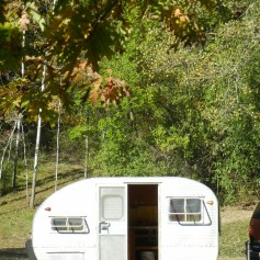 Theresa and David's newly acquired vintage camper.