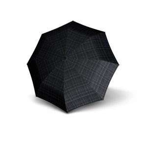 Vyriškas skėtis Knirps T200 Duomatic, juoda su pilku, išskleistas