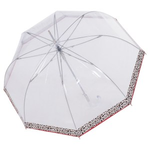 Skaidrus moteriškas skėtis Doppler Fiber Long Automatic Transparent Leo išskleistas