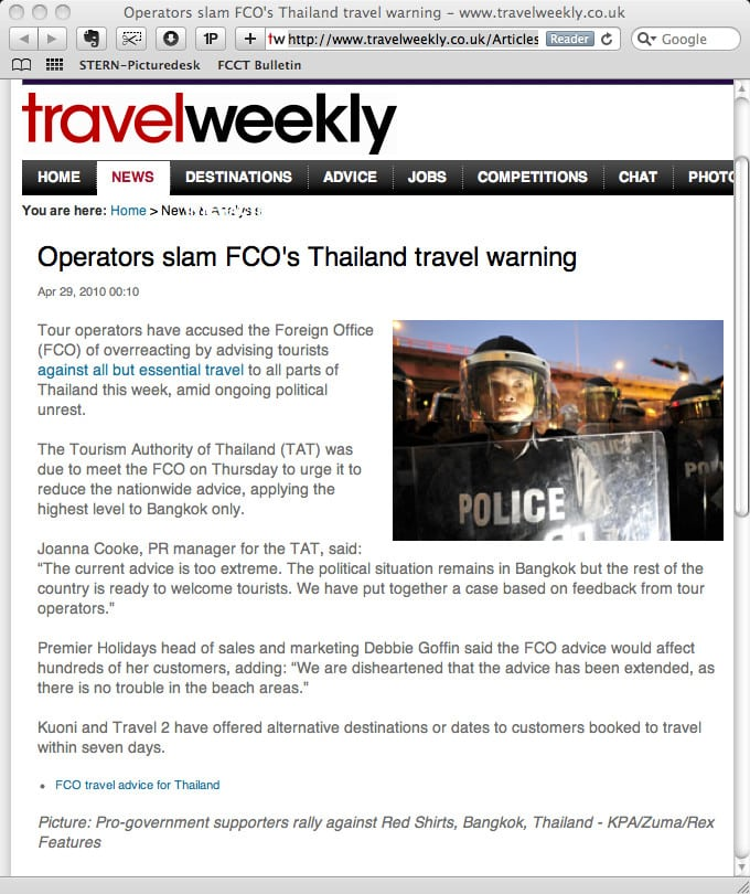 Screen capture of travelweekly.co.uk - 29 April 2010.