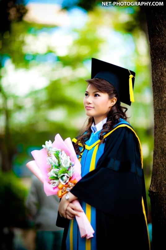 Graduation photo taken at University of the Thai Chamber of Commerce in Bangkok, Thailand.