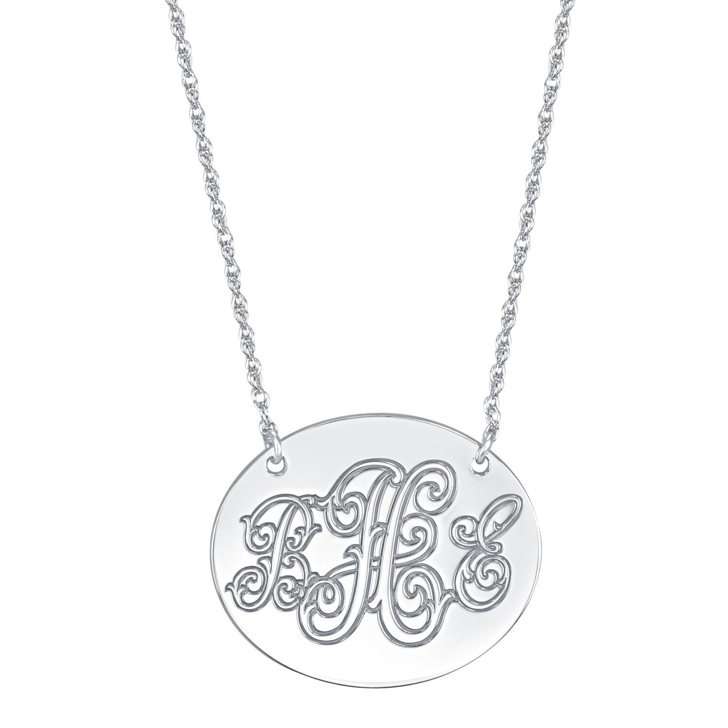 Alison and ivy oblong monogram necklace 25 x 30mm