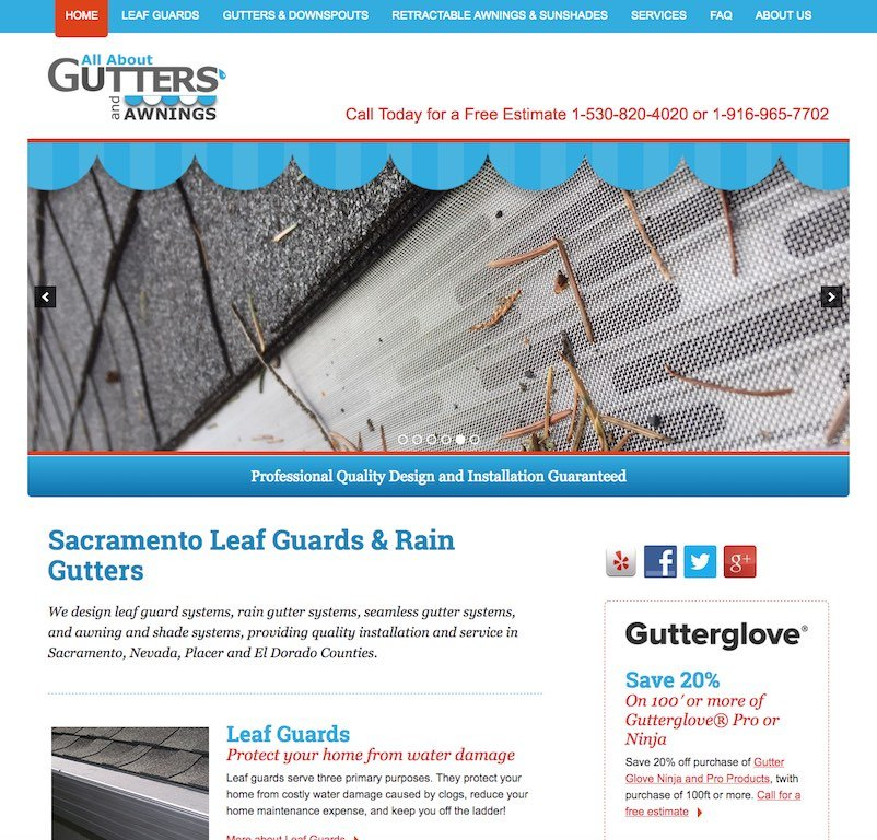 All About Gutters Website