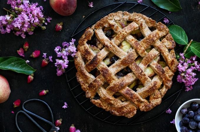 Lattice Vegan Peach and Blueberry Pie