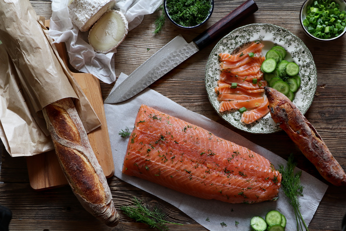 Cured salmon gravlax