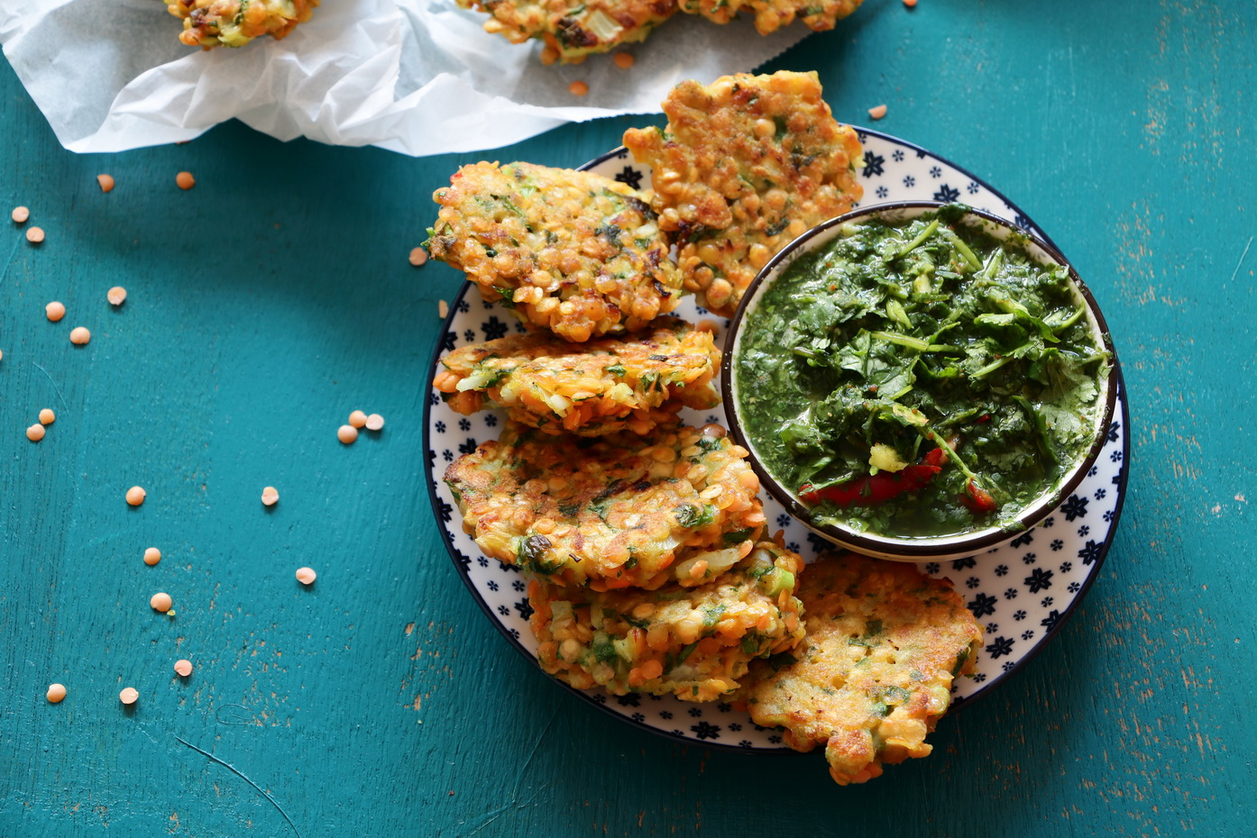 Indian Style Red lentil fritters - from Neta Cooks