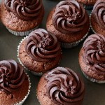 Not so red red velvet cupcakes with chocolate buttercream frosting