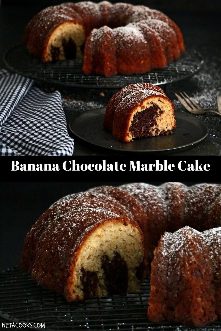 Banana Chocolate Marble Cake