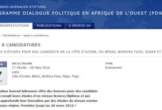 Appel à candidatures: Bourses d'études pour etudiants de la côte d'ivoire, du bénin, Burkina Faso, Niger et Togo
