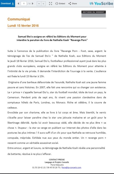 samuel_etoo_nathalie_koah_communique_moment