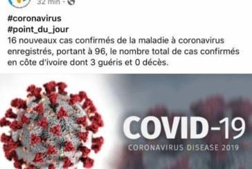 Coronavirus : Les cas de contaminations montent à 96 en Côte d'Ivoire