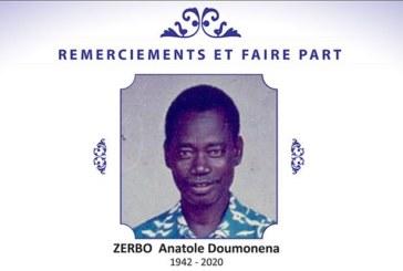 Décès Zerbo Anatole Doumonena: Remerciements et faire part