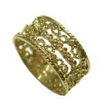 Wide Filigree Gold Ring