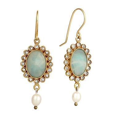 Victorian Style Aquamarine Dangling Gold Earrings
