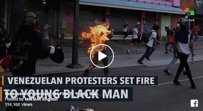 """ΒΕΝΕΖΟΥΕΛΑ-Οι κατά Μητσοτάκη """"ειρηνικοί διαδηλωτές"""" λιντσάρουν και καίνε ζωντανό έναν 21χρονο μαύρο, όπως έκαναν και στην Ουκρανία (ΣΚΛΗΡΟ ΒΙΝΤΕΟ)"""