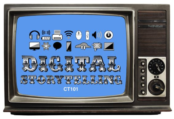 """The ct101 digital storytelling logo placed inside of an old tv set"""