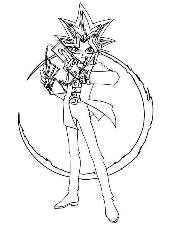 Yugi Muto Possess By Mysterious Gambler Spirit In Yu Gi Oh Coloring Page Netart