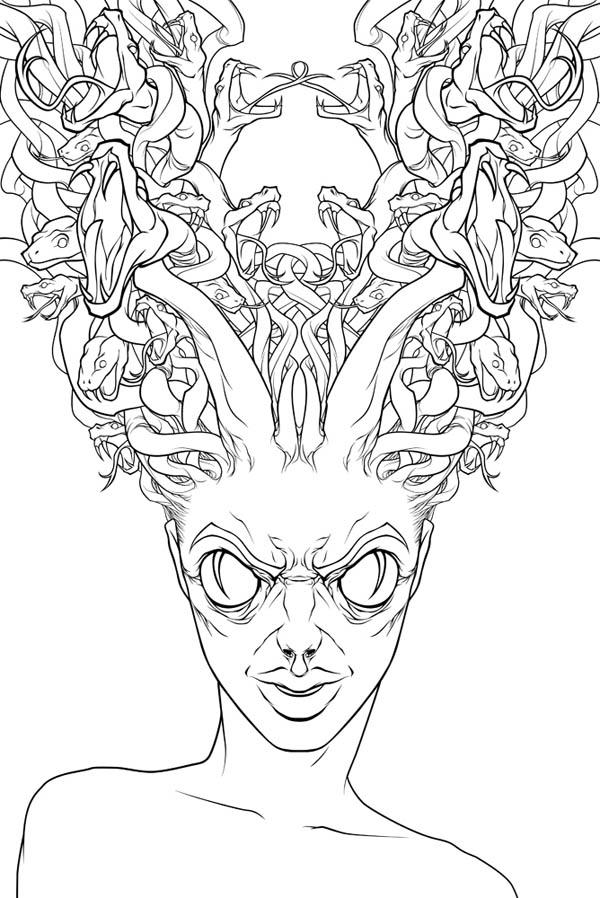 Hideous Of Medusa Coloring Page NetArt