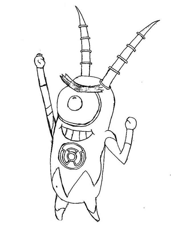 Robot Plankton Coloring Page NetArt