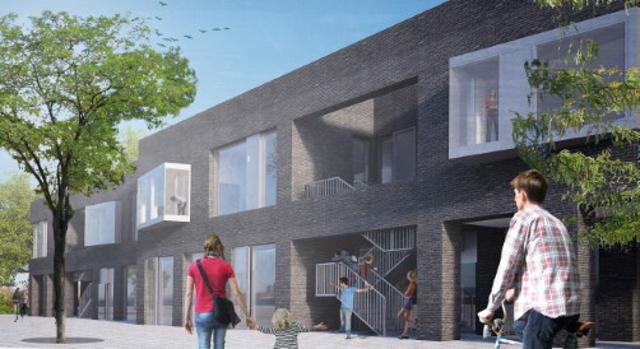 Overborgmester Frank Jensen (S) tager det første spadestik på Katrinedals Skole. Illustration: JJW Arkitekter.