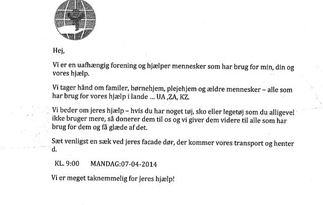 Det er sedler som denne, politiet beder borgerne i Gentofte og Furesøområdet om at fjerne fra postkasser. Foto: Politiet.