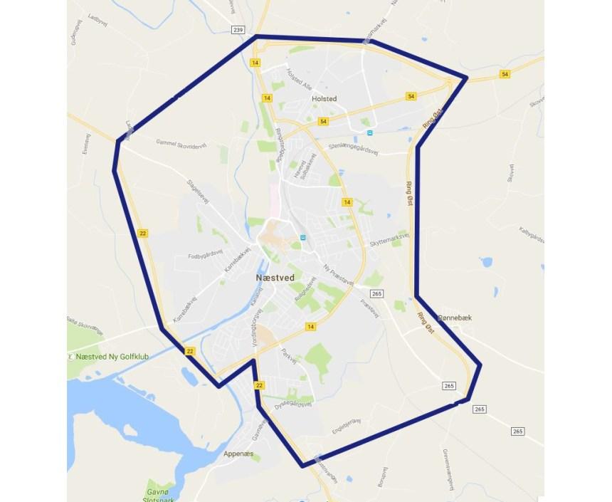 Visitationszonen i Næstved. Kort: Politiet.