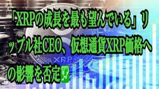 【仮想通貨】リップル最新情報‼️「XRPの成長を最も望んでいる」リップル社CEO、仮想通貨XRP価格への影響を否定💹
