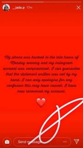 Jada Pollock Retracts'Abuse' Statement Against Wizkid