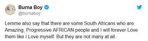 Xenophobic Attacks: Burna Boy urges black foreigners in South Africa to defend themselves