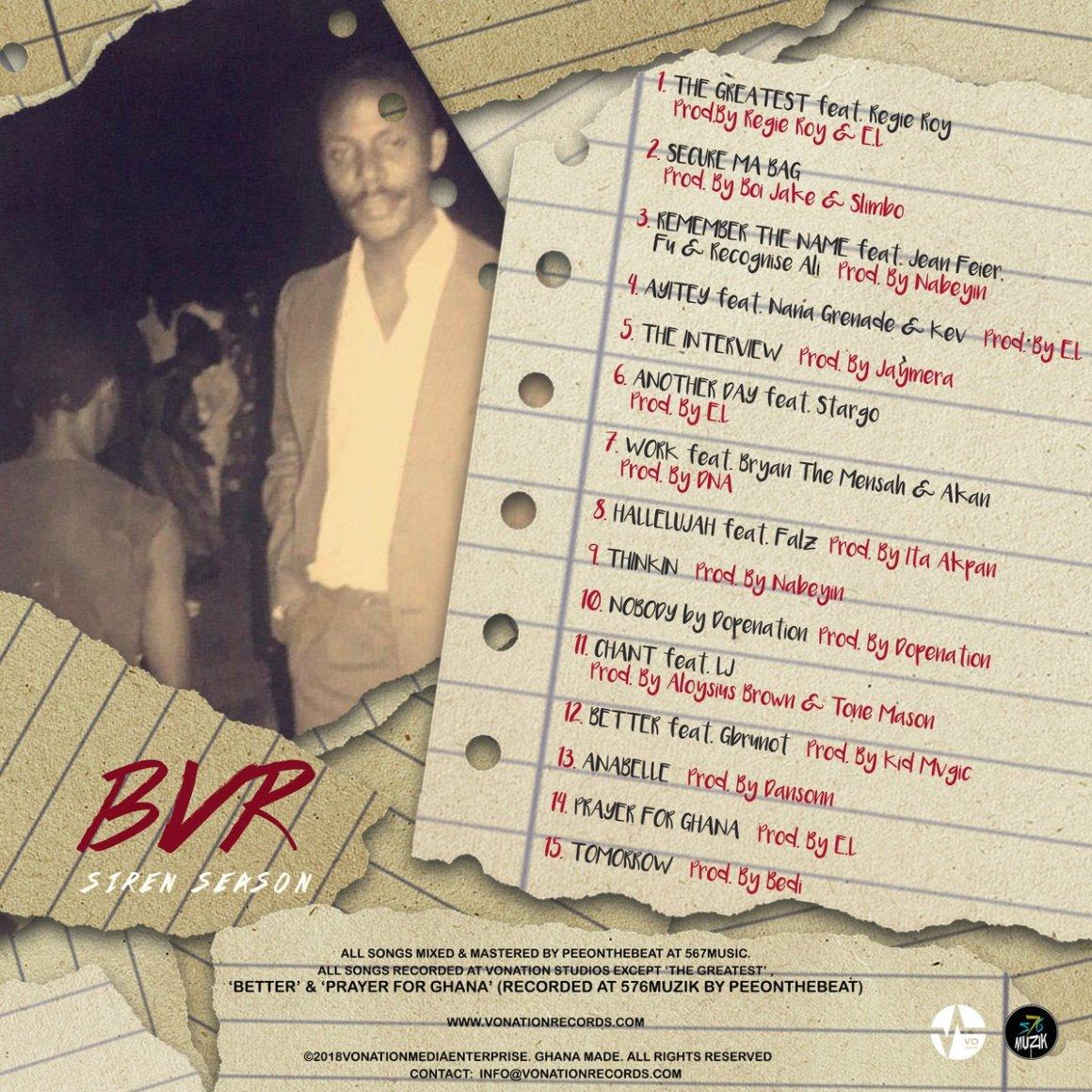 E.L announces tracklist and cover art for ''BVR'' mixtape