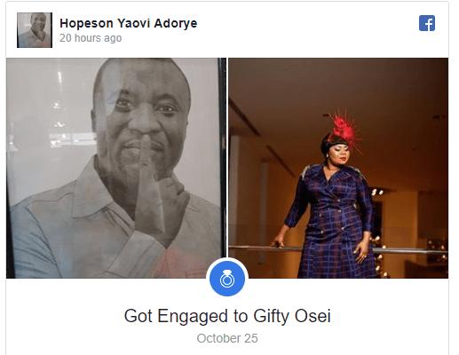 Gospel singer Gifty Osei is engaged to NPP's Hopeson Adorye