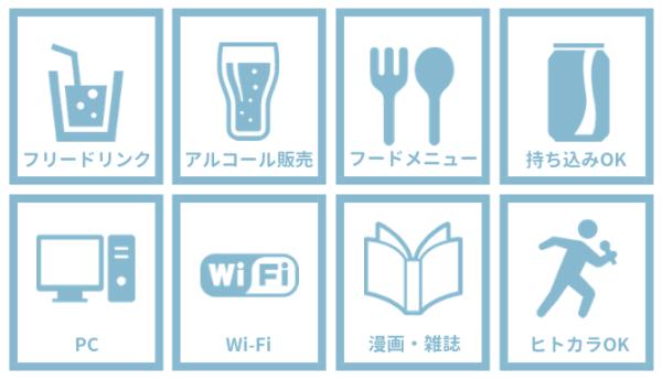 フリードリンク、アルコール販売、フードメニュー、持ち込みOK、PCあり、Wi-Fiあり、漫画・雑誌、ヒトカラOK