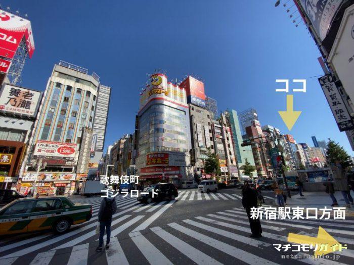 看板が目立つので歌舞伎町入口の靖国通りまで出ればすぐに見つかります。