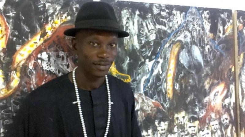 exposition à Dakar d'un artiste peintre singulier, Aliou Diack