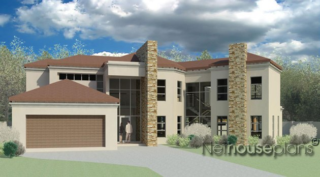 Modern Tuscan Home Design   Modern House Plan   Net House Plans     Front view