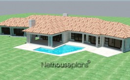 Traditional style, 4 bedroom house plan, single storey floor plans - NETHOUSEPLANS