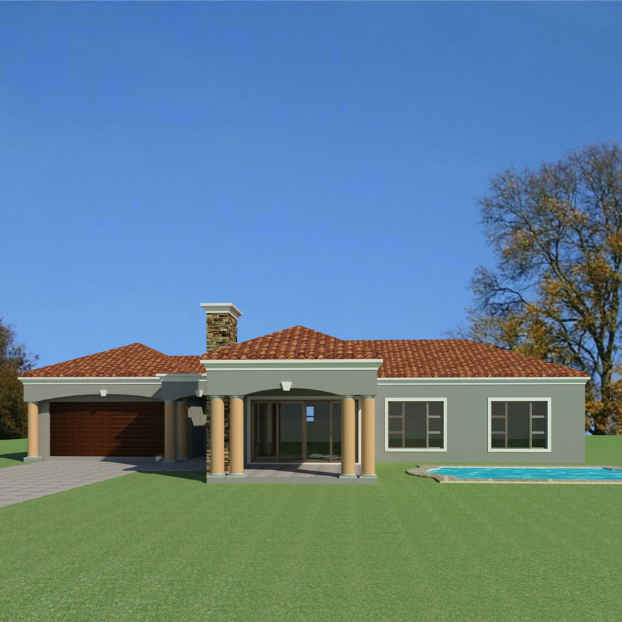 3 Bedroom House Plans 3d: 3-Bedroom-house-plan-Single-storey-House-plans-South