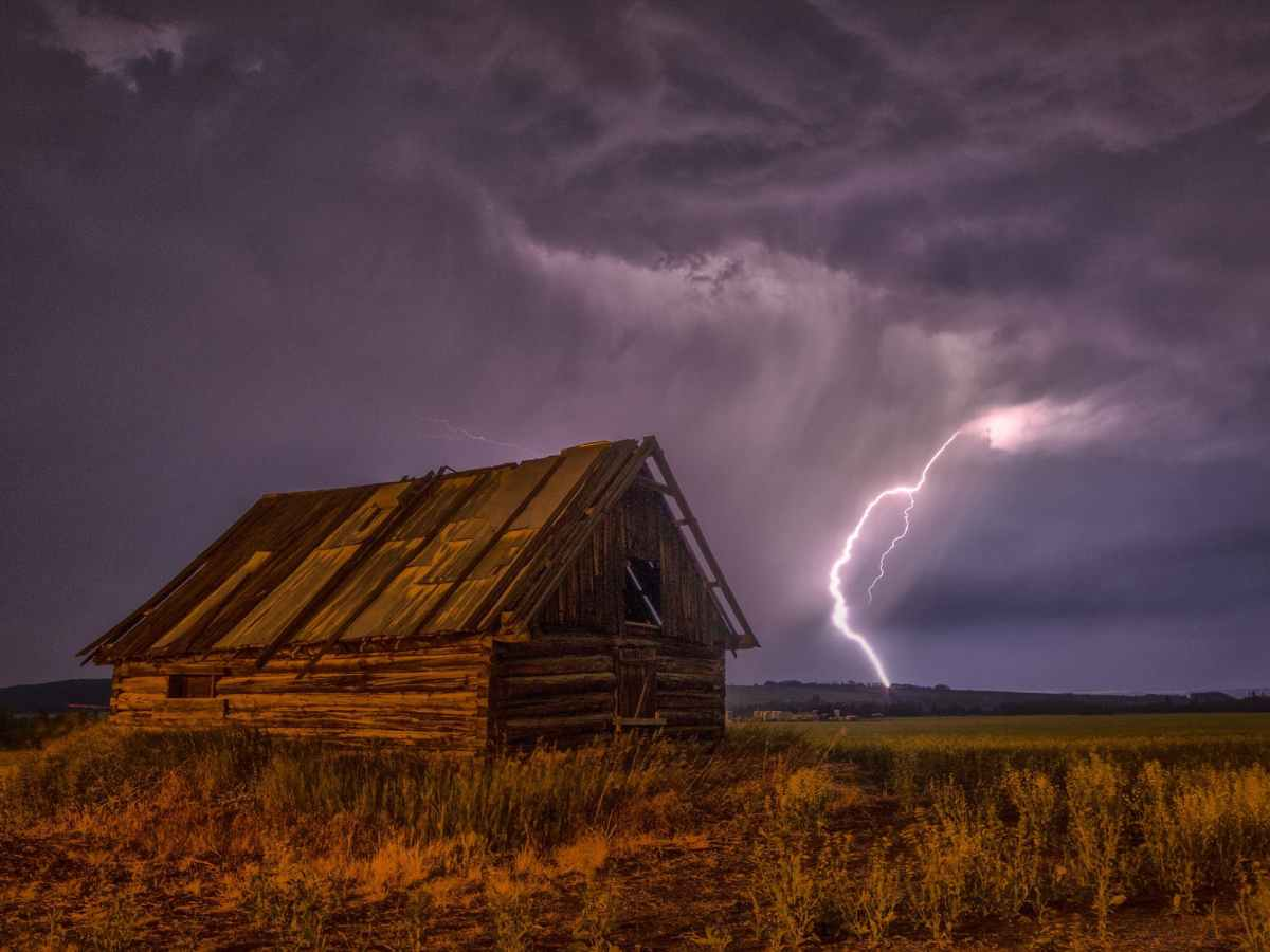 brown and beige wooden barn surrounded with brown grasses under thunderclouds