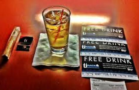 Notice drink vouchers from TI. in Las Vegas