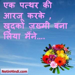 whatsapp status Aarzoo, Aarzoo facebook shayari, Aarzoo facebook status, एक पत्थर की आरजू करके , खुदको ज़ख्मी बना लिया मैंने….
