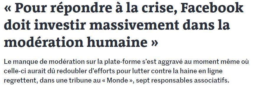 Le Monde – Tribune sur la haine en ligne