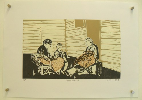 Conversations II, Relief print and collagraph, A3, 2013