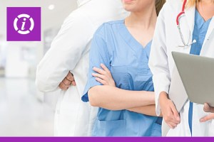 Nurses and Doctors Standing next to each other with arms crossed.
