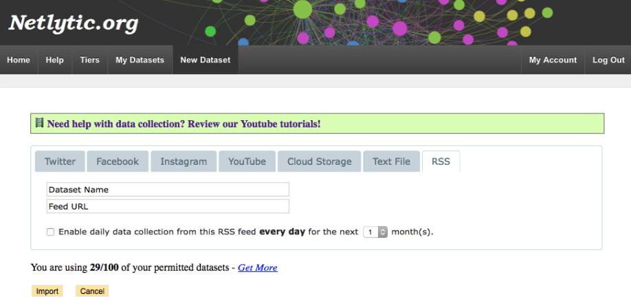 Netlytic-RSS Import