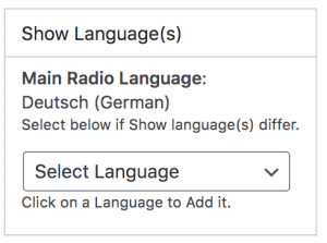 Radio Station Show Language Selector