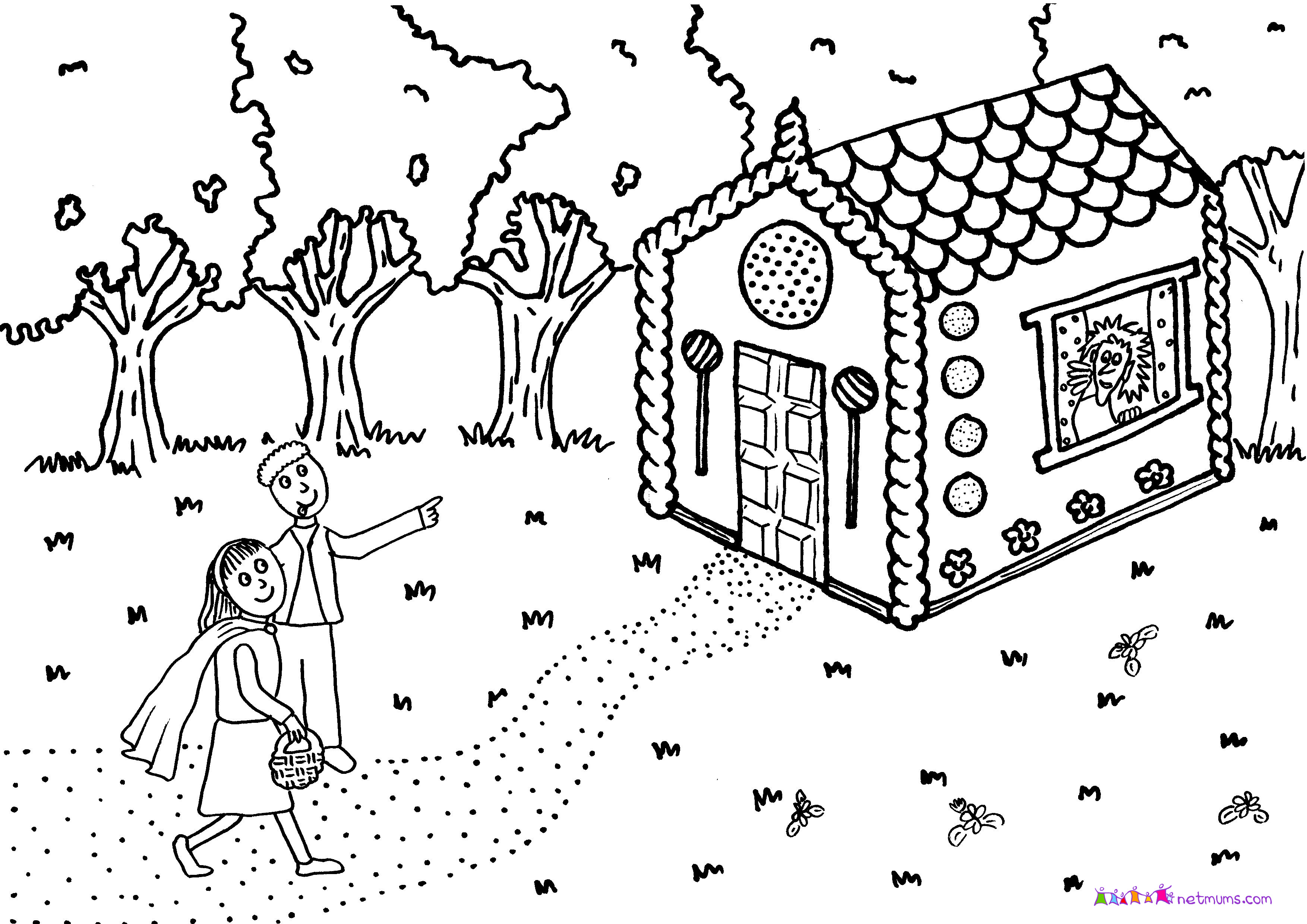 Hansel And Gretel Candy House Coloring Page Sketch