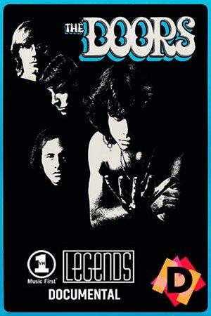 The Doors - Documental Legends.Foto en blanco y negro de los componentes del grupo The Doors. En primer plano Jim Morrison